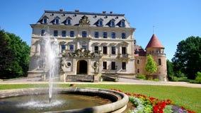 Altdoebern castle and fountain stock video footage