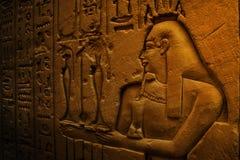 Alte Ägypten-Hieroglyphen geschnitzt auf dem Stein Stockbilder