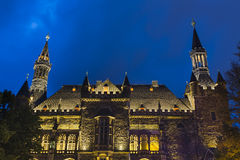 Alte Aachen-Stadt Hall At Night Stockfoto