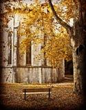 Alte Abtei mit herbstlichen Blättern Stockfoto
