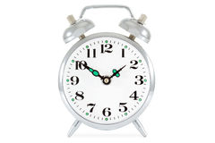 Alte Alarmuhr getrennt auf weißem Hintergrund Lizenzfreie Stockfotos