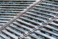 Alte Amphitheaterbeschaffenheit umfasst durch Schnee Amphitheater backgroun Lizenzfreie Stockfotografie