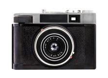 Alte analoge Kamera auf Format des Filmes 35mm lokalisiert auf einem weißen Hintergrund lizenzfreie stockfotos