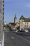 Alte Ansicht Stadt-Sibius Rumänien von Cibin-Brücke auch Stockbild
