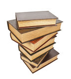 Alte antike Bücher gegen einen weißen Hintergrund Stockfotos