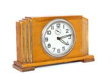 Alte antike hölzerne Uhr stockfotografie