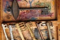 Alte antike Schlüssel auf einem Weinlesehintergrund mit einer schäbigen Farbe Lizenzfreie Stockbilder