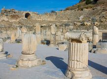 Alte antike Stadt von Efes, Ephesus-Bibliotheksruine in der Türkei Lizenzfreie Stockfotografie