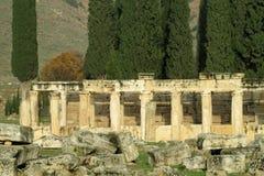 Alte antike Stadtruinen von Hierapolis lizenzfreie stockfotos