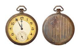 Alte antike Taschenuhr getrennt auf Weiß Lizenzfreie Stockfotos