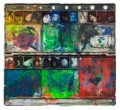 Alte Aquarellfarben des Künstlers Stockbilder