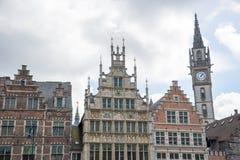 Alte Architektur des zentralen Teils von Gent-Stadt Stockbild