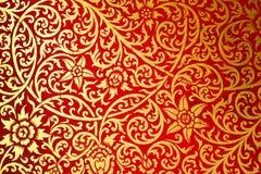 Alte Art des siamesischen Kunstmusters die Wand im Tempel Stockbilder
