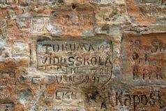 Alte Aufschriften in der Gautmanis-Höhle gelegen auf dem Gauja-Fluss im Nationalpark von Sigulda, Lettland Lizenzfreie Stockbilder