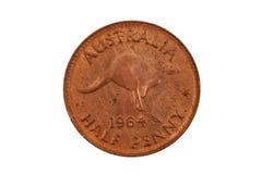 Alte australische halbe Penny Isolated On White Lizenzfreie Stockbilder