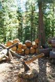 Alte Axt, die gegen angehäuften Stücke Brennholz steht Stockfotografie