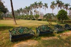 Alte Bänke in einem grünen tropischen Park Lizenzfreie Stockfotografie