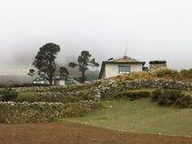 Alte Bäume und Haus in Phortse Stockfotos