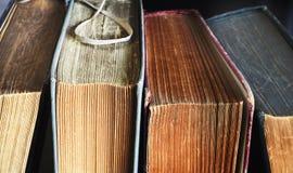 Alte Bücher, Abschluss oben, Stockfotografie