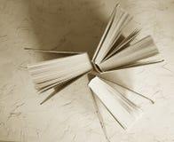 Alte Bücher auf einem grauen Hintergrund Lizenzfreie Stockfotografie