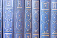 Alte Bücher auf einem hölzernen Regal Stockbilder