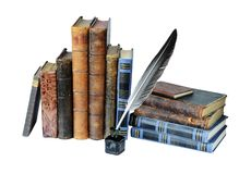 Alte Bücher auf einem weißen Hintergrund Lizenzfreie Stockbilder