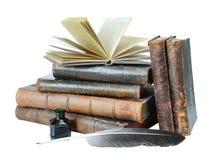 Alte Bücher auf einem weißen Hintergrund Stockbilder