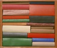 Alte Bücher auf hölzernem braunem Regal Lizenzfreie Stockbilder