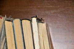Alte Bücher auf hölzernem Hintergrund Lizenzfreie Stockfotos