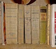 Alte Bücher auf hölzernem Regal lizenzfreie stockbilder