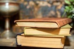 Alte Bücher auf Regal Stockbild