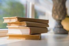 Alte Bücher auf Regal Stockfotos