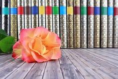 Alte Bücher auf rustikalem Holztisch Lizenzfreies Stockfoto