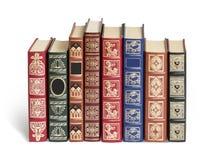 Alte Bücher auf Weiß Stockfoto
