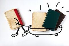 Alte Bücher auf weißem Hintergrund Buch trägt Wissen getrennte alte Bücher Lizenzfreie Stockbilder