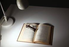Alte Bücher der Weinlese auf hölzerner Plattformtabelle und Schmutzhintergrund Stockbilder