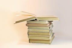Alte Bücher der Weinlese auf hellem Hintergrund Stockfotografie
