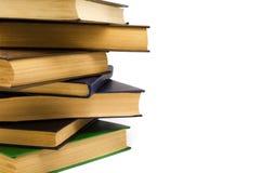 Alte Bücher des Stapels auf einem weißen Hintergrund Lizenzfreie Stockfotos
