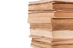 Alte Bücher getrennt auf Weiß Stockfotografie