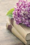 Alte Bücher mit rosa Blumen Lizenzfreies Stockfoto
