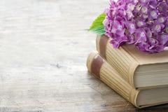 Alte Bücher mit rosa Blumen und Kopienraum Stockfotos