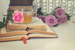 Alte Bücher mit rosafarbener Blume Lizenzfreie Stockfotos