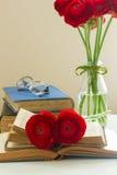 Alte Bücher mit roter Blume Lizenzfreie Stockfotos