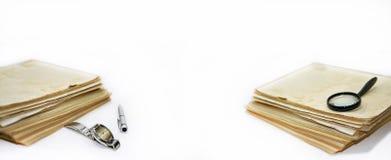 Alte Bücher mit Stift Lizenzfreies Stockfoto