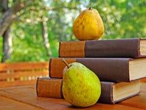 Alte Bücher und Birnen draußen Stockbild