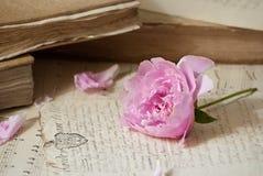 Alte Bücher und Blumen Stockbild