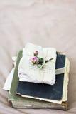 Alte Bücher und Buchstaben mit getrocknet stiegen Lizenzfreie Stockfotos