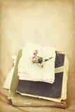 Alte Bücher und Buchstaben mit getrocknet stiegen Gealtertes Foto Lizenzfreies Stockfoto