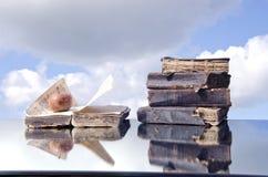 Alte Bücher und fauler Apfel auf Spiegelkonzept Stockfotos