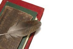 Alte Bücher und Feder Stockfoto